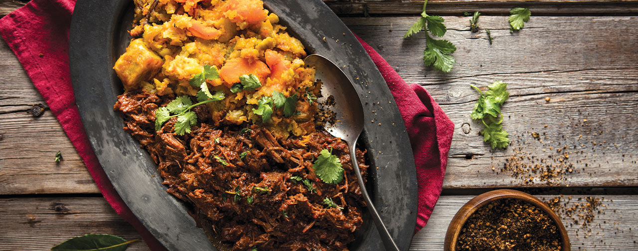 Hunters® Biltong Spiced Pulled Venison with Roasted Sweet Potato Mash