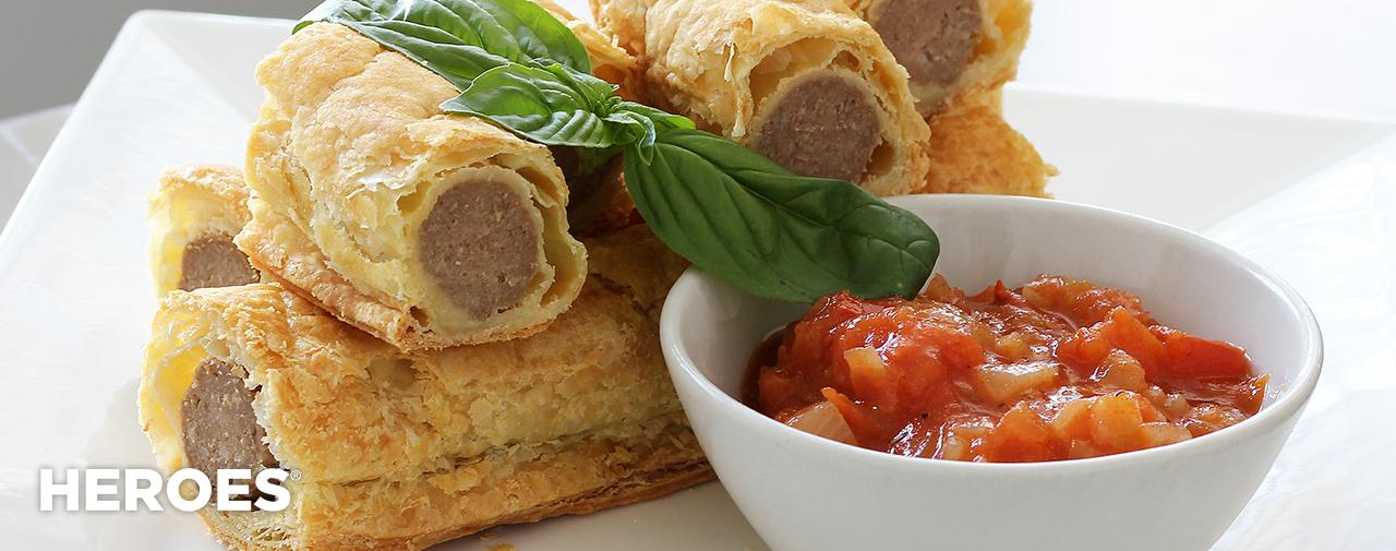 Braaiwors Sausage Rolls with Chakalaka Sauce