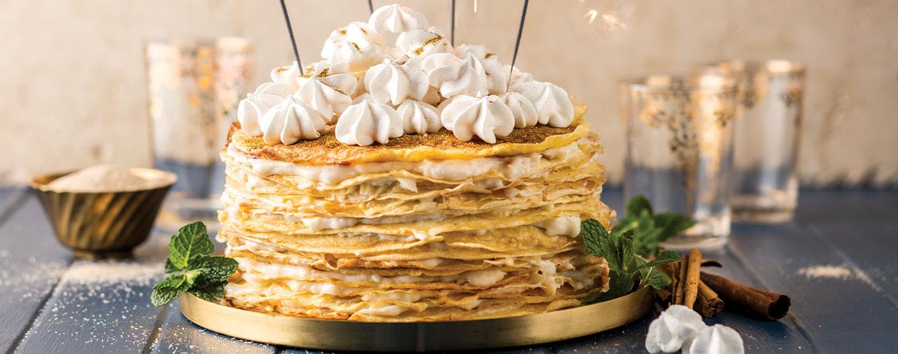 Milk Tart Filled Pancake Stack