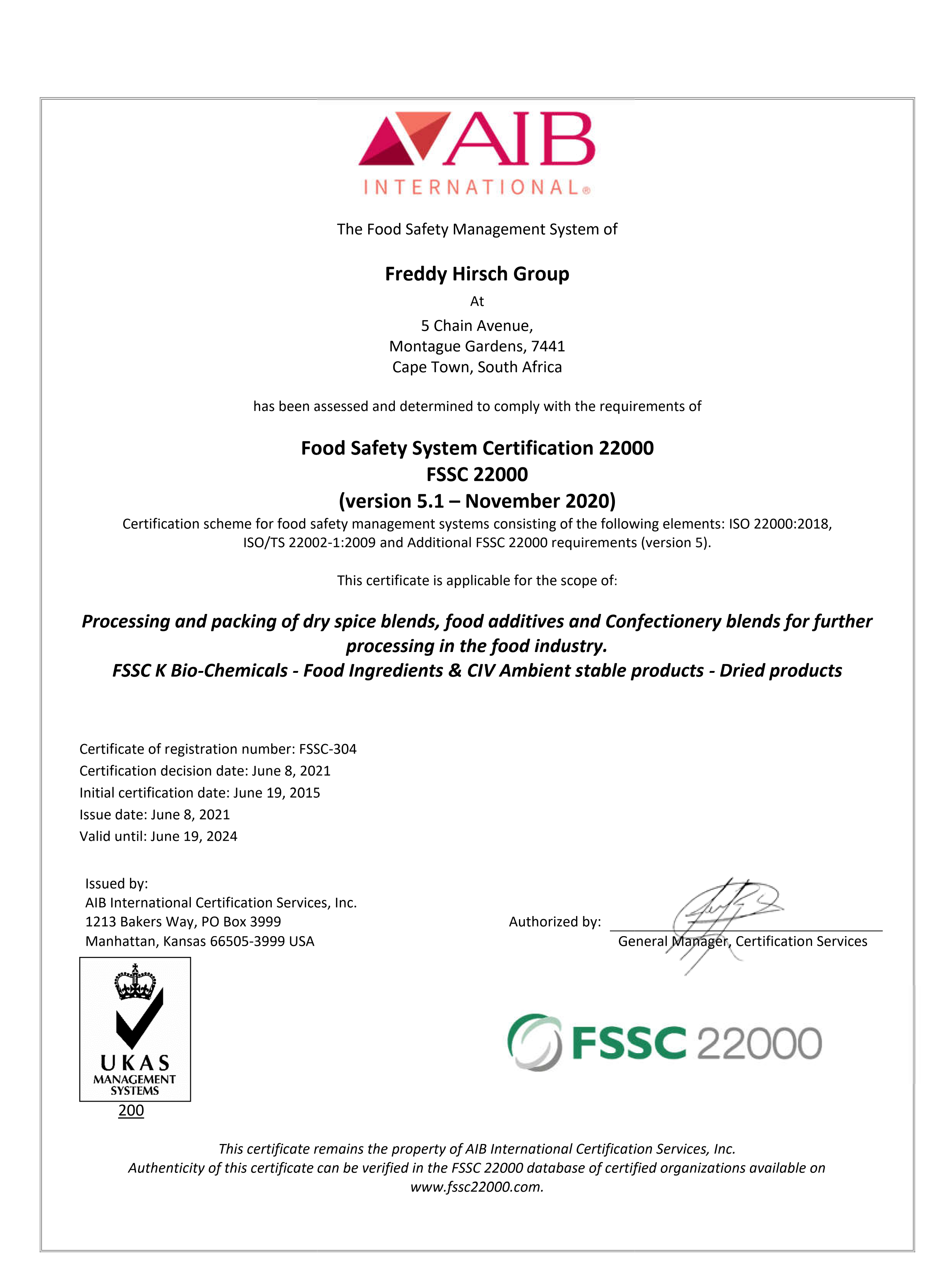 FSSC 22000 CERTIFICATE FROM AIB INTERNATIONAL CERTIFICATION SERVICES