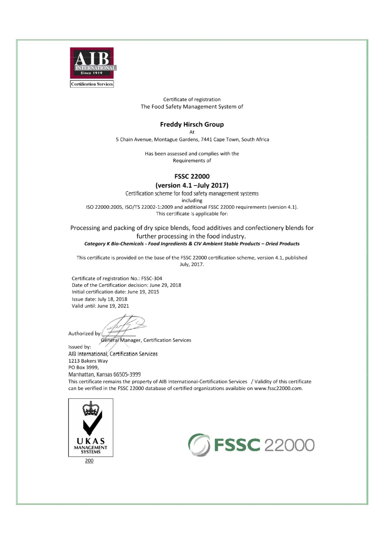FSSC 22000 CERTIFICATE FROM AIB INTERNATIONAL CERTIFICATION SERVICES