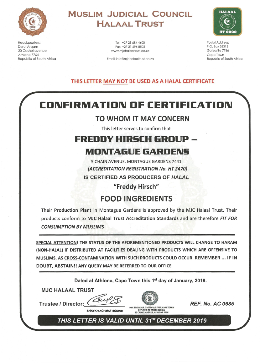 MUSLIM JUDICIAL COUNCIL HALAAL CERTIFICATE : INGREDIENTS MANUFACTURING
