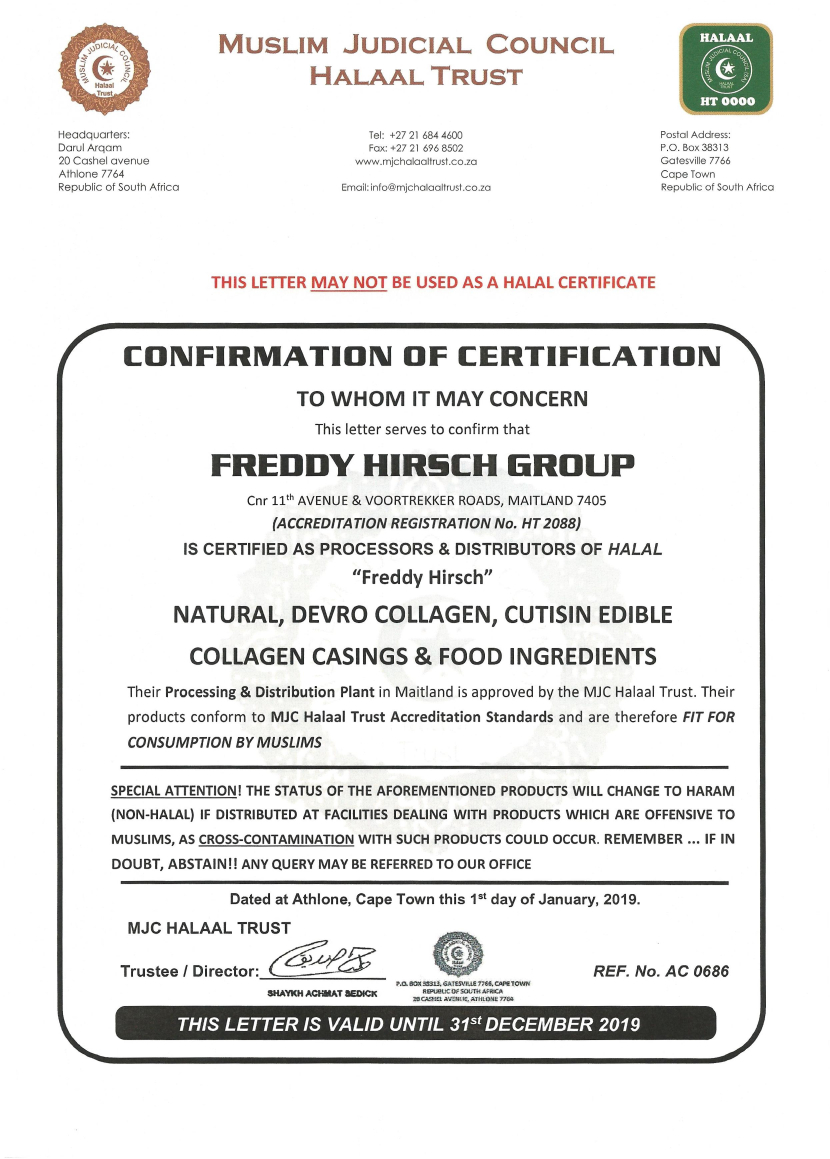 MUSLIM JUDICIAL COUNCIL HALAAL CERTIFICATE : COLLAGEN, CASINGS AND INGREDIENTS