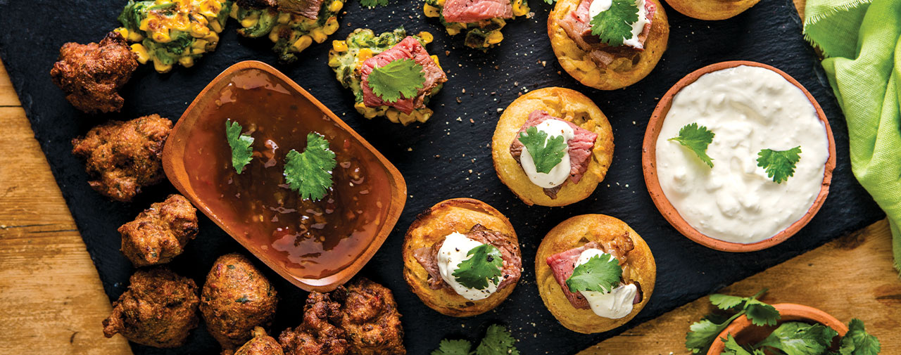 Legacy® Marinated Picanha Steak Snacks (with corn fritters and easy Yorkshire pudding)