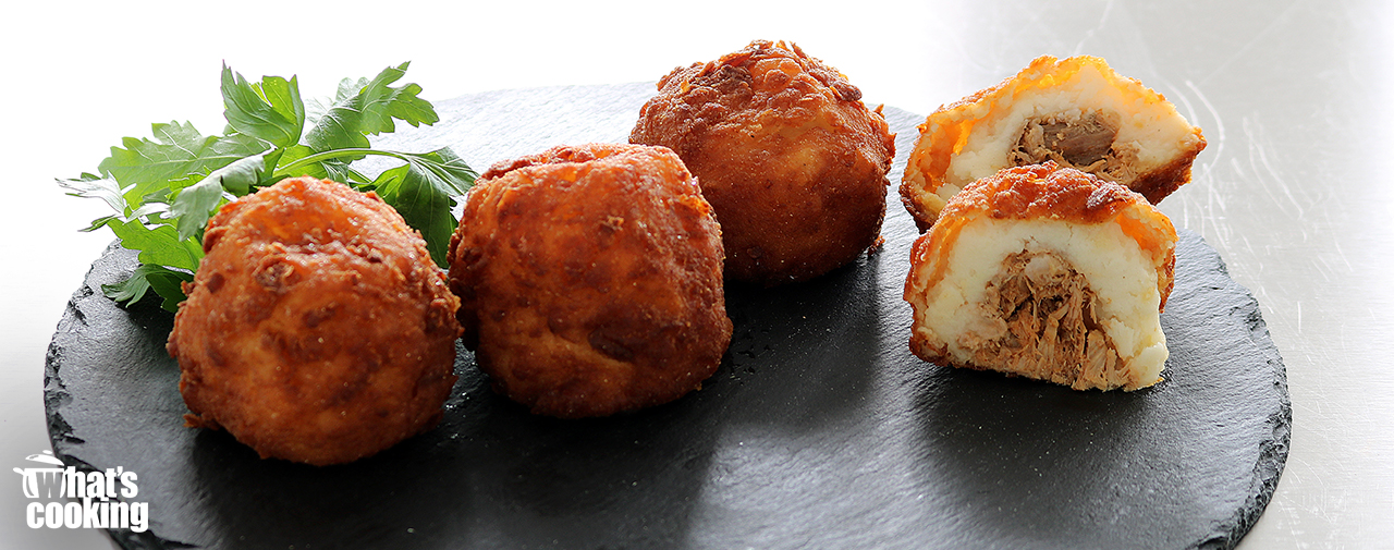 Mash potato croquettes filled with BBQ Chicken