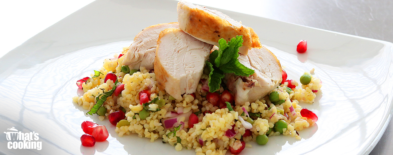 Festive Bulgur wheat salad served with Roast Chicken